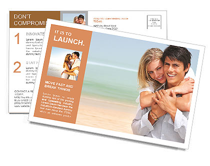 Happy couple on the beach Postcard Template