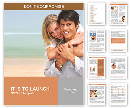 Happy couple on the beach Word Template