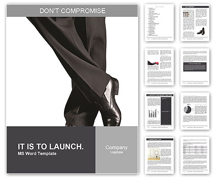 Elegant black shoes and pants on a white background Word Template