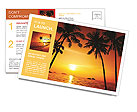 Palm trees and a beautiful summer sunset Postcard Template