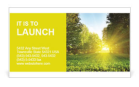 Sunset in a green park Business Card Template