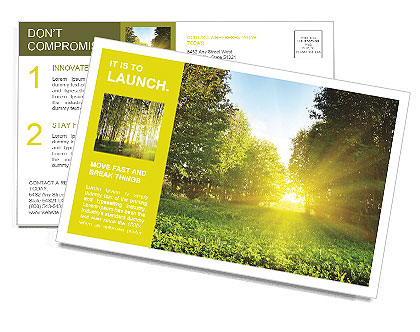 Sunset in a green park Postcard Template