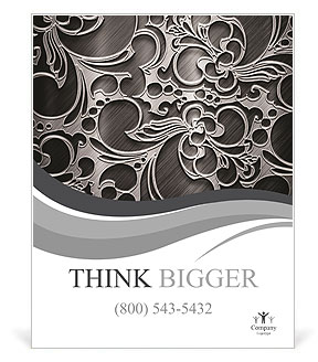 Silver metallic background with ornament Poster Template