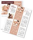 Happy little girl kissing her mother Newsletter Template