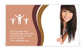 Attractive brunette looks at you on white background Business Card Template