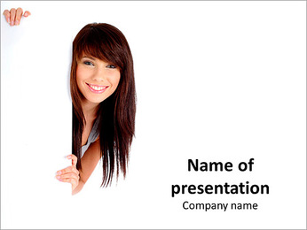 Attractive brunette looks at you on white background PowerPoint Template