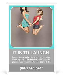 Two girlfriends jumped together Ad Template