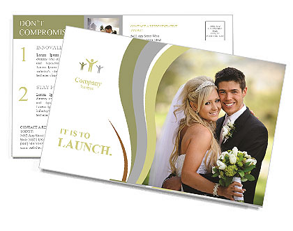 The bride and groom pose for Postcard Template
