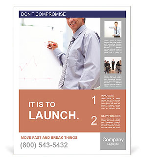 Businessman showing a presentation Poster Template