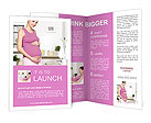 Happy pregnant woman embracing her belly Brochure Template