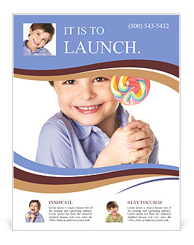 A little boy holding a piece of candy Flyer Template