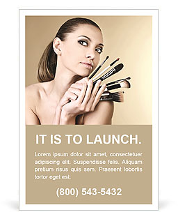 Beautiful girl with brushes for make-up Ad Template