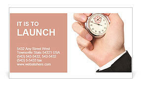 A hand is holding a stopwatch Business Card Template