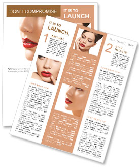 Flawless girl with bright red lipstick on her lips Newsletter Template