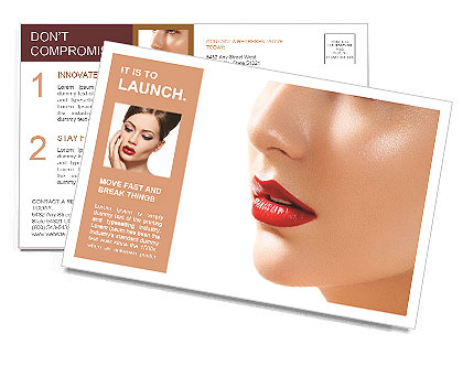 Flawless girl with bright red lipstick on her lips Postcard Template