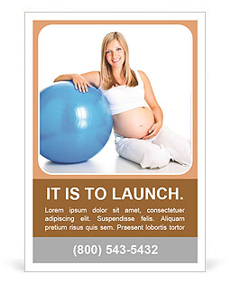 Pregnant girl with ball on a blue background simulator Ad Template