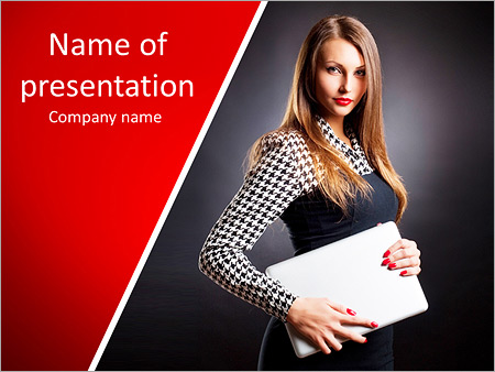 Strictly dressed girl holding a laptop PowerPoint Template