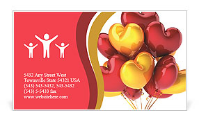 Party balloons heart shaped birthday celebration decoration multicolor red yellow. Love romantic val Business Card Template