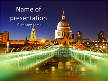 St. Paul's Cathedral and the Millennium Bridge in London PowerPoint Template