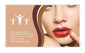 Beautiful girl on a bright lipstick on a red background Business Card Template