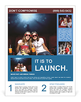 Two girls watching a movie at the cinema Flyer Template