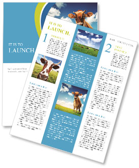The cow on a green lawn Newsletter Template