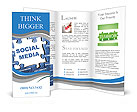 Social media blue puzzle Brochure Template