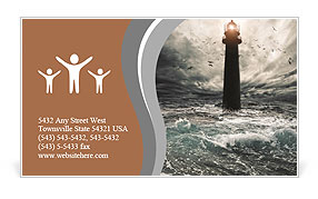 Storm on the sea and the lighthouse on the main terms Business Card Template
