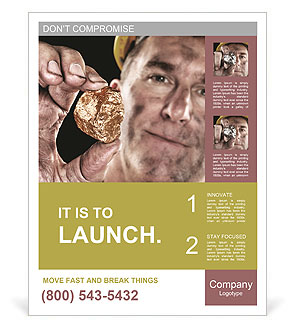 Image of natural gold with gold miner Poster Template