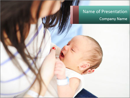 Young Mother Breastfeeding PowerPoint Template