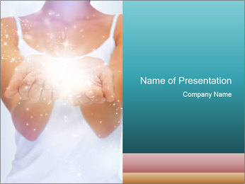 Woman and Light Twinkles PowerPoint Template
