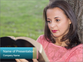 Lady Reading a Boon in the Park PowerPoint Template