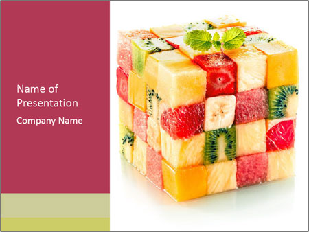 Fruit Mix Cube PowerPoint Template