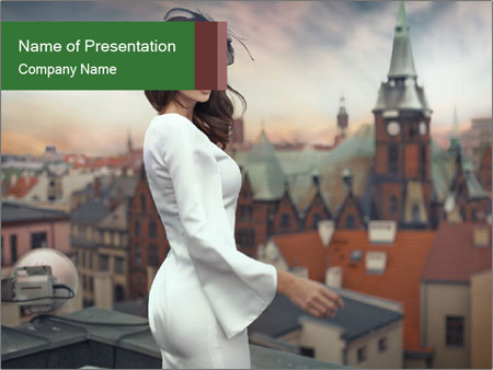 Urban Women on the Roof PowerPoint Template