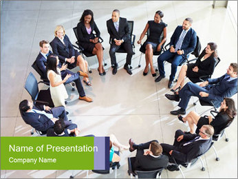 Business People Sitting in the Circle PowerPoint-Vorlagen