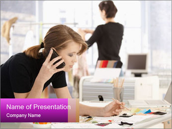 Young Businesses Woman Speaking over Phone PowerPoint Template