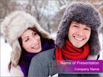 Love Couple Enjoys Winter PowerPoint Template