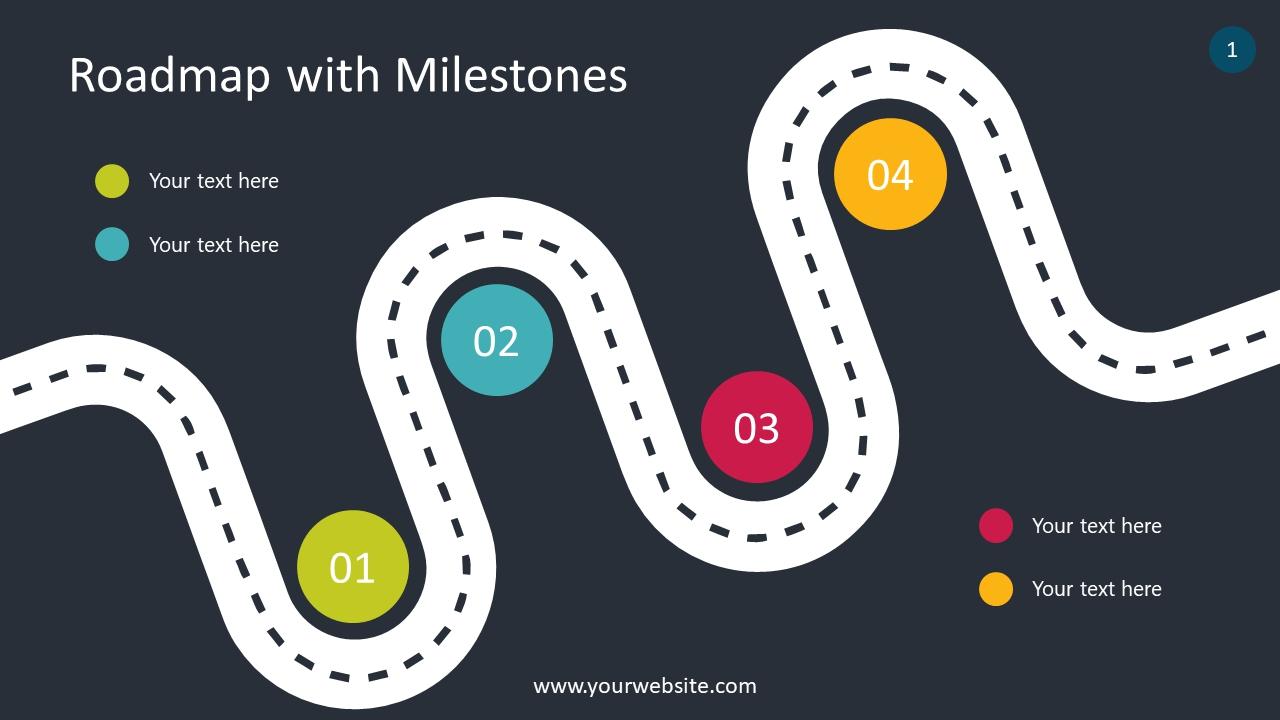 Roadmap With Milestones Infographics For Presentations Smiletemplates