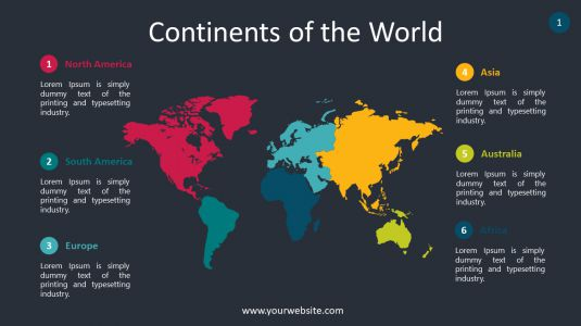 Continents of the World PowerPoint Infographics