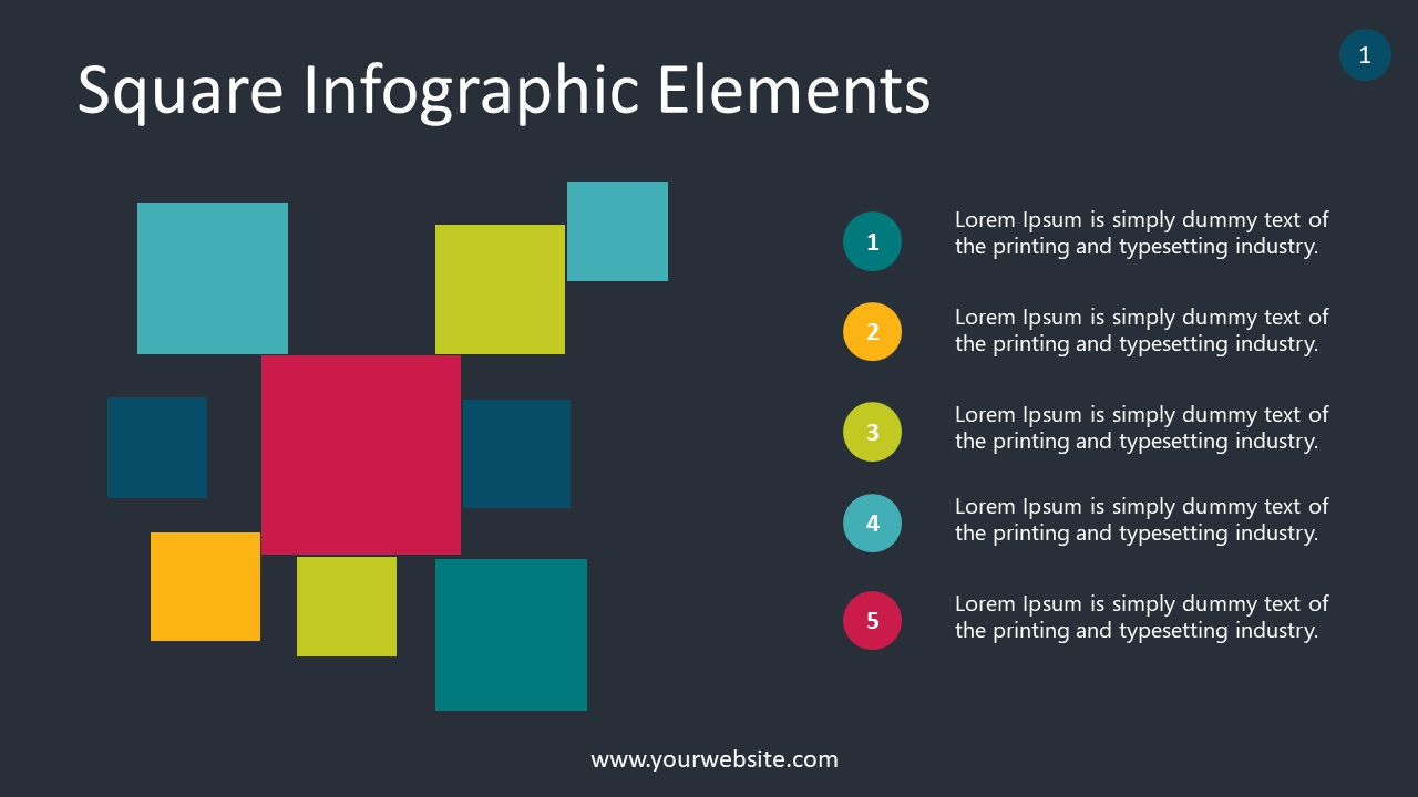 Square Infographic Elements PowerPoint Infographics