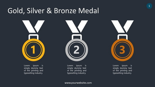 Gold, Silver & Bronze Medal PowerPoint Infographics