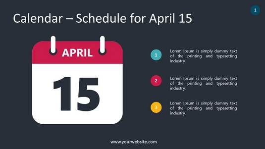 Calendar – Schedule for April 15 PowerPoint Infographics