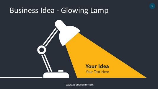 Business Idea – Glowing Lamp PowerPoint Infographics