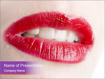Bright Red Gloss for Lips Sjablonen PowerPoint presentatie