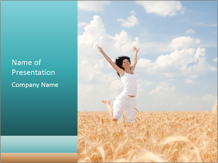 Young Lady Jumping in Wheat Field PowerPoint Template