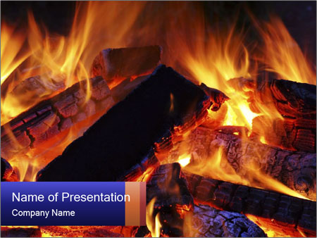Burning Wood in the Fireplace PowerPoint Template