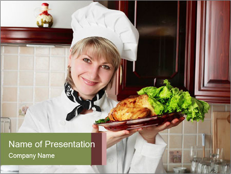 Woman Cook at Work PowerPoint sunum şablonları
