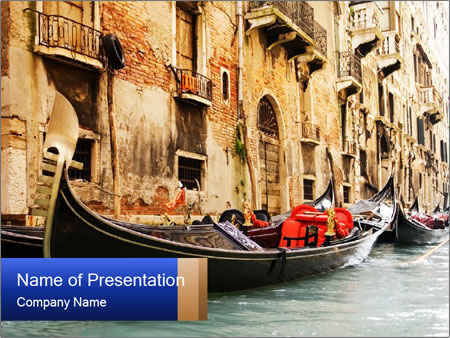Riding Traditional Gandola in Venice PowerPoint Template