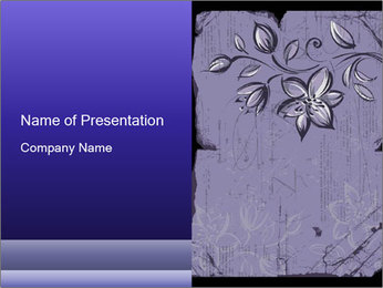 Lilac Grunge Flower PowerPoint Template