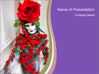 Mask with Red Rose PowerPoint Template